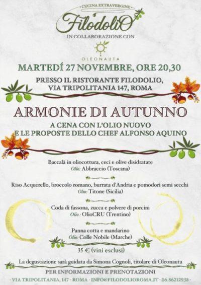 Armonie d'Autunno - a cena con l'olio nuovo da Filodolio